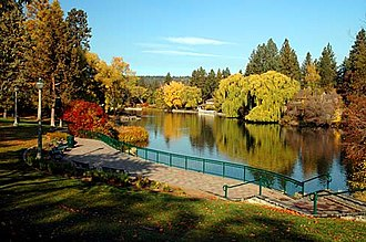 Bend, Oregon - Mirror Pond from Drake Park during autumn