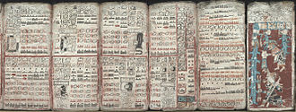 Dresden Codex - Six pages of the Dresden codex:  Pages (55–59, 74) on eclipses (left), multiplication tables, and a flood (far right)