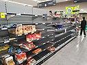 Almost empty supermarket aisle in Melbourne, Australia