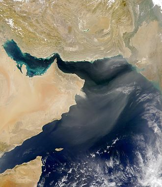 Geography of Oman - SeaWiFS captured this dust cloud blowing out over the Arabian Sea from Oman. March 12, 2000