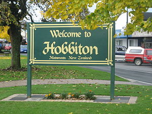 Matamata - Sign in Matamata identifying town as the location where the Hobbiton scenes from the Lord of the Rings were filmed