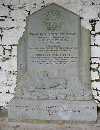 Wolfe Tone - Earlier version of Tone's headstone, from 1945