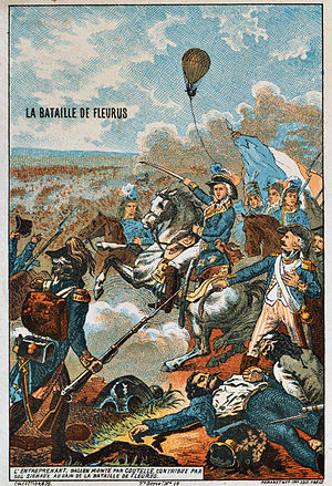 Observation balloon - The battle of Fleurus, 26 June 1794, saw the first military use of an aircraft (L'Entreprenant).