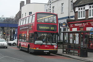 London Buses route 185 - East Thames Buses Plaxton President bodied Volvo B7TL at East Dulwich station in December 2006