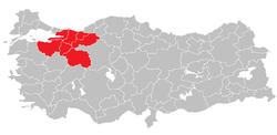 Location of East Marmara Region