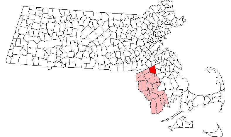 Location in Bristol County in Massachusetts