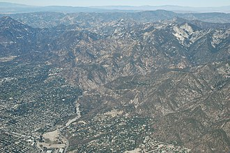 Altadena, California - Aerial view of Altadena and Eaton Canyon