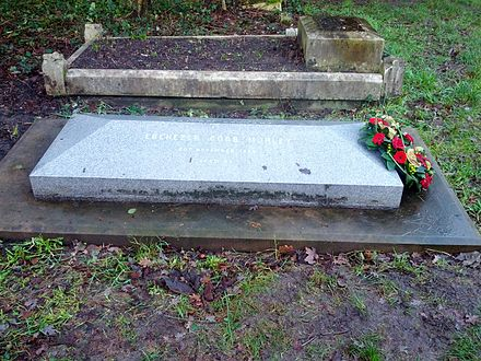 The grave of Ebenezer Cobb Morley in Barnes Cemetery, with a wreath commemorating 150 years of the FA. Ebenezer Cobb Morley grave Barnes.jpg