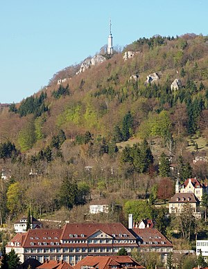 Ebingen - Castle rock and Haux factory