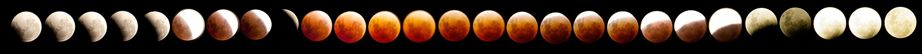 a series of 27 images of the moon during the eclipse