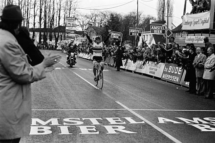 Merckx crossing the finish line to win the 1975 Amstel Gold Race Eddy Merckx, Amstel Gold Race 1975 finish.jpg