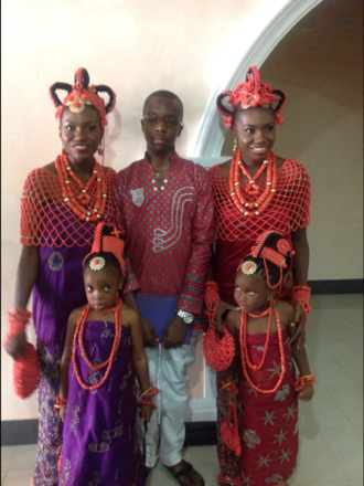 Edo people - A marriage ceremony depicting one of the traditional attire of the Edos of Nigeria.
