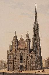 Stephansdom (Aquarell auf Lithografie von Eduard Gurk, 1830) (Quelle: Wikimedia)