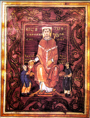 Egbert (archbishop of Trier) - The presentation miniature of the Codex Egberti, with Egbert's portrait