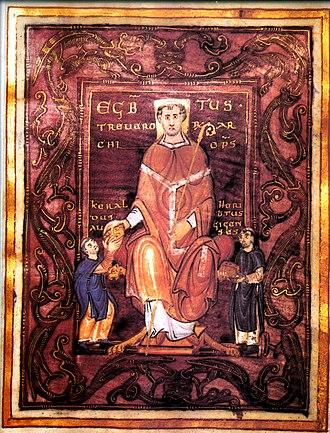 Medieval renaissances - Le Codex Egberti, sans doute composé à Reichenau et dédié à Egbert de Trèves, ici représenté.