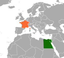 Map indicating locations of Egypt and France