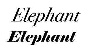 Elephant (typeface) - Elephant in italic compared to a revival of the work of Bodoni, the kind of 'modern' serif font that inspired it. The basic structure - alternating thick and thin lines, minimal hairline serifs and a high level of contrast - is similar, but Elephant has much thicker bold strokes.
