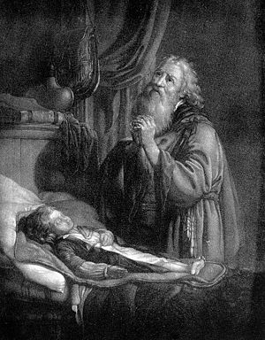 Elias healing the son of the widow, engraving. Wellcome M0017808.jpg