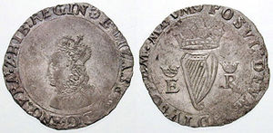 Groat (coin) - ELIZABETH·D·G·ANG·FRA·Z·HIB:REGIN (Elizabeth by the Grace of God, of England, France and Ireland Queen)