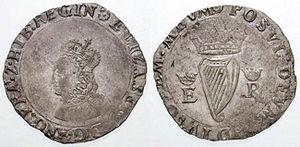 Groat (coin) - ELIZABETH·D·G·ANG·FRA·Z·HIB:REGIN (Elizabeth by the Grace of God, of England, France and Ireland Queen)