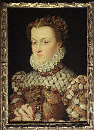 Elisabeth of Austria, Queen of France - Portrait by François Clouet, c. 1571