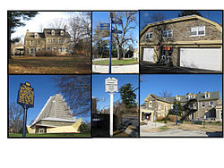 Clockwise from top, Wall House, Cheltenham Twinning Fingerpost, Cheltenham EMS Building, Cheltenham Township Municipal Building, Township Police Headquarters sign on Old York Road, Beth Shalom Synagogue