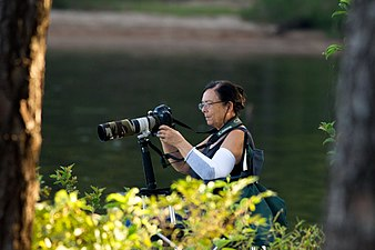 Ellen Tinsley photographing raptors at Jordan Lake.jpg