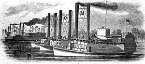 "United States Ram Fleet - Line engraving published in Harper's Weekly, 1862, illustrating members of the fleet. Ships in the foreground are: Monarch (letter ""M"" between stacks), Queen of the West (with letter ""Q"") and Lioness (letter ""L""). In the left background are: Switzerland (with letter ""S"" on paddle box), Samson and Lancaster."
