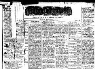 Empire (newspaper) - Front cover of first issue of the Empire, 28 Dec 1850