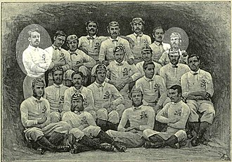 Gipsies Football Club - 1871 England squad with Gipsies players JE Bentley (left) and JH Luscombe (right) highlighted