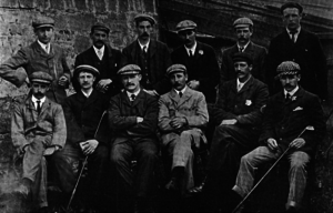 John Henry Taylor - A group photo of the 1903 English golf team prior to their international match against Scotland.  Taylor is seated in the front row, third from the left, with Harry Vardon to his left. Albert Tingey, Sr. is seated on the far right, front row, with Ted Ray seated to his right. James Sherlock stands in the back row, far left.
