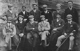 Ted Ray (golfer) - A group photo of the 1903 English golf team prior to their international match against Scotland.  Ray is seated front row, second from the right. J. H. Taylor and Tom Vardon are in the center of the front row, from left to right, respectively. Albert Tingey, Sr. is seated on the far right, front row. James Sherlock is standing in the back row on the far left.