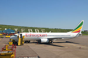 Entebbe International Airport - Ethiopian Airlines Boeing 737-800 ground handling at Entebbe International Airport.