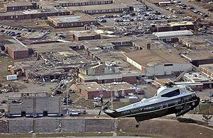 Tornado outbreak of February 28 – March 2, 2007 - US President G. W. Bush surveys tornado damage to Enterprise High School from Marine One.
