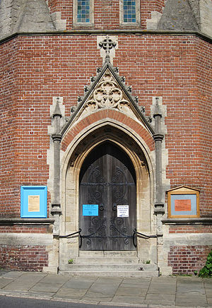 St John the Evangelist's Church, St Leonards-on-Sea - The entrance is in the base of the four-stage tower.