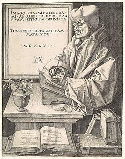 <i>Portrait of Erasmus</i> (Dürer) woodcut engraving by Albrecht Dürer
