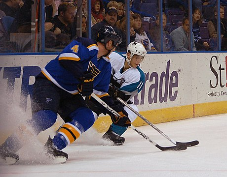 The St. Louis Blues play at the Enterprise Center in downtown St. Louis. Eric Brewer vs Marcel Goc.jpg