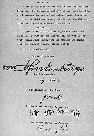 Enabling Act of 1933 - Act (page 2 with signatures)
