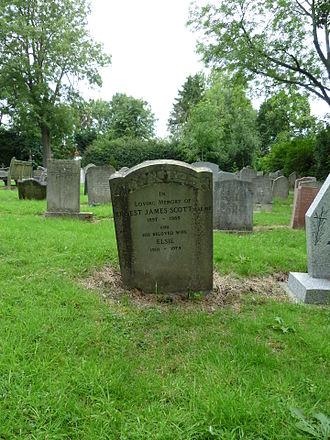 Ernest James Scott - Ernest Scott grave at St Andrew's church, Totteridge.