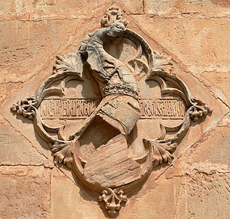 Peter IV of Aragon - Coat of arms of Peter IV at the Royal Gate of Poblet Monastery