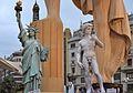 Estàtua de la Llibertat i David de Miquel Àngel, falla de l'Ajuntament 2016.JPG
