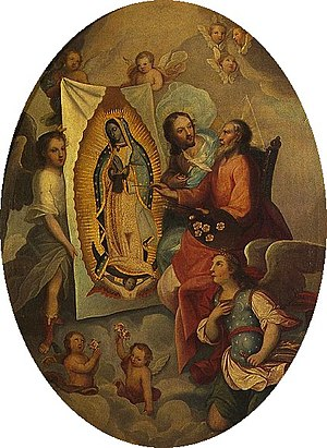 Acheiropoieta - God the Father painting Our Lady of Guadalupe, an unusual Marian image, 18th century.