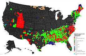 European Ancestry in the US by county