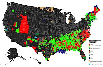 European Americans - European ancestry in the US by county (self-reported)