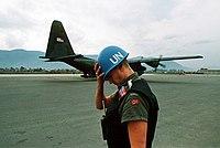 Norwegian UN soldier at the Sarajevo airport. Photo by Mikhail Evstafiev