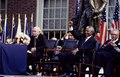 F.W. de Klerk, left, the last president of apartheid-era South Africa, and Nelson Mandela, his successor, wait to speak in Philadelphia, Pennsylvania LCCN2011634245.tif
