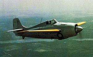Grumman F4F Wildcat - An early F4F-3 with prop spinner and cowl guns.