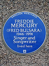 4cc2ea71ab26 Plaque at 22 Gladstone Avenue, Feltham, London, commemorating Freddie  Mercury (erected 2016)