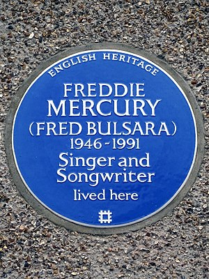 Freddie Mercury - English Heritage blue plaque at 22 Gladstone Avenue, Feltham, London