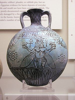 Eye of Horus - Image: Faience vessel with Bes